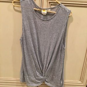 Super cute striped tank with front gathering XL